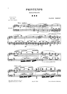 Printemps: Paraphrase, for Piano by Claude Debussy