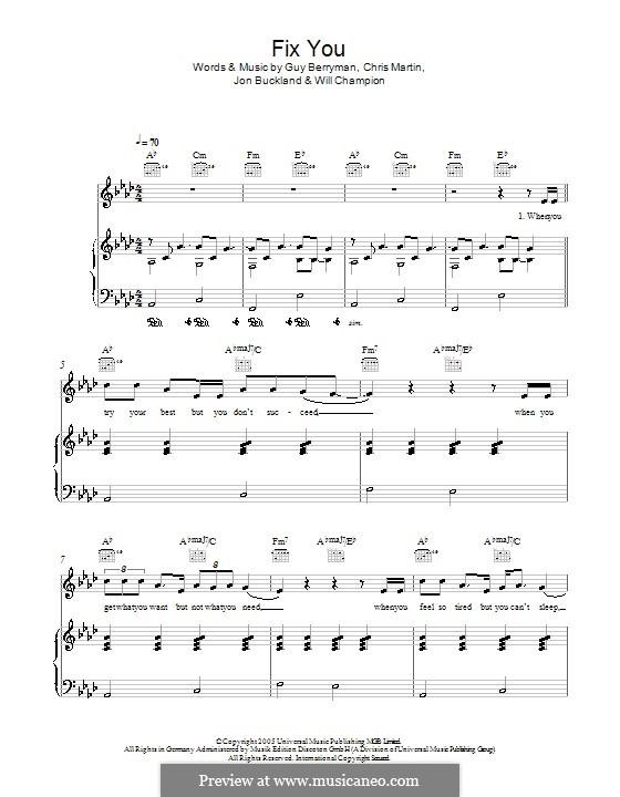 Guitar fix you guitar chords : Fix You (Coldplay) by C. Martin, G. Berryman, J. Buckland, W ...