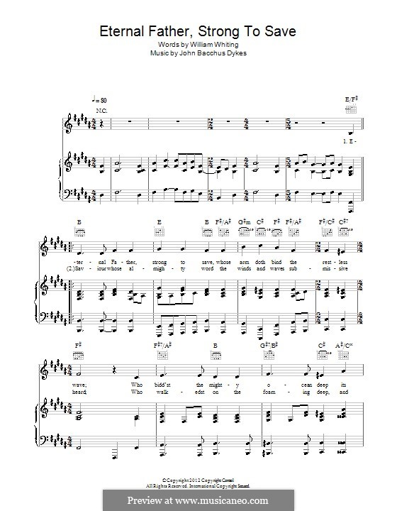 Eternal Father, Strong to Save: For voice and piano (or guitar) by John Bacchus Dykes