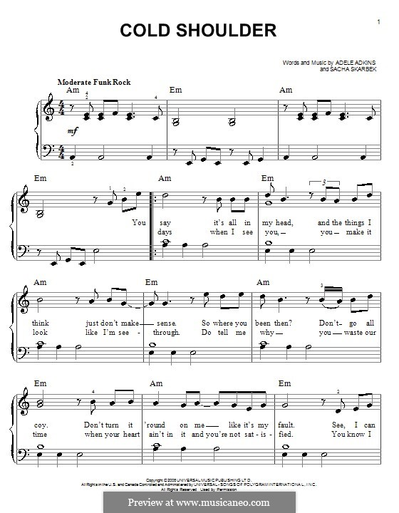 Cold Shoulder: For piano by Adele