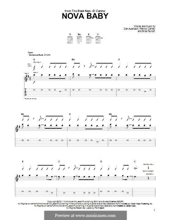 Nova Baby (The Black Keys): For guitar by Brian Burton, Daniel Auerbach, Patrick Carney