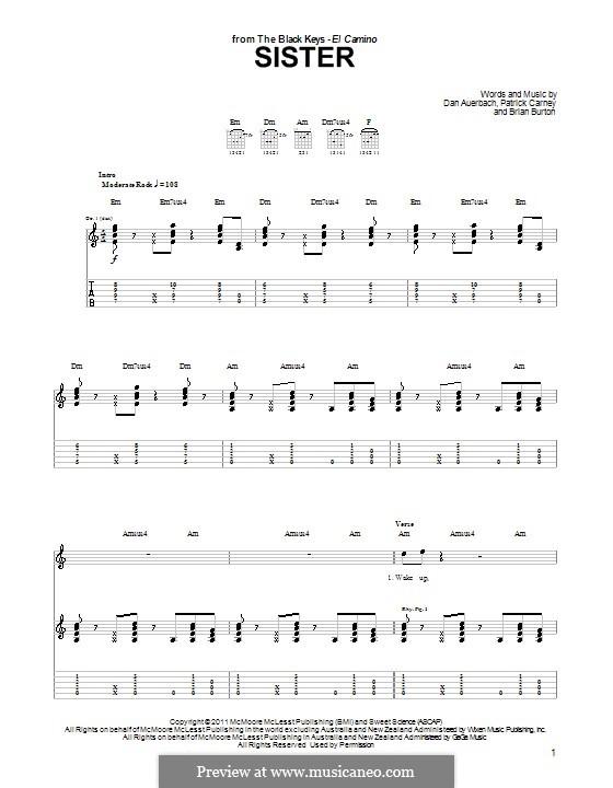 Sister (The Black Keys): For guitar by Brian Burton, Daniel Auerbach, Patrick Carney