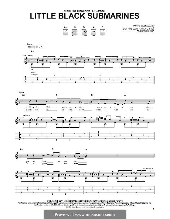Little Black Submarines (The Black Keys): For guitar by Brian Burton, Daniel Auerbach, Patrick Carney
