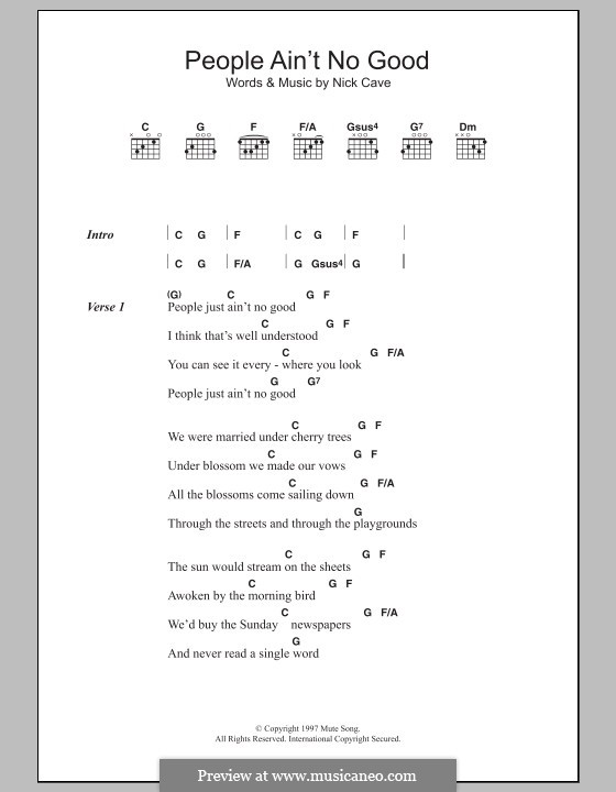 People ain't no Good (from Shrek 2): Lyrics and chords by Nick Cave