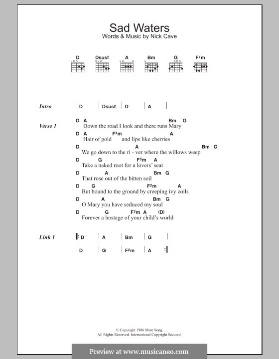 Sad Waters: Lyrics and chords by Nick Cave