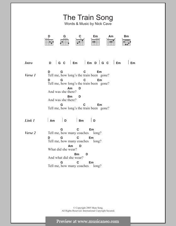 The Train Song: Lyrics and chords by Nick Cave