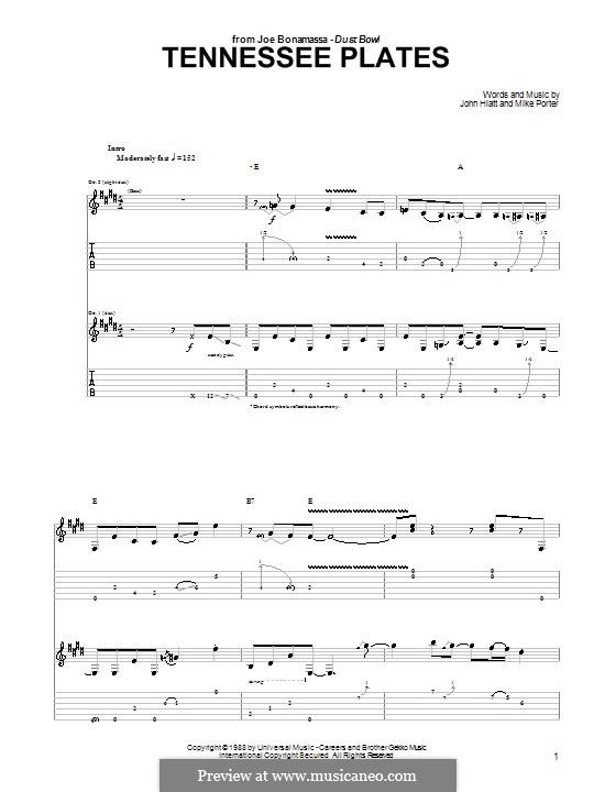 Tennessee Plates: For guitar by John Hiatt, Mike Porter