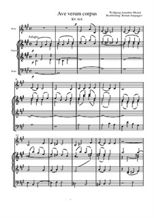 Ave verum corpus, K.618: For french horn and organ in A major by Wolfgang Amadeus Mozart