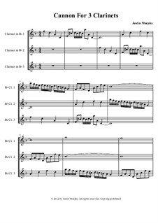 Canon For 3 Clarinets: Full score by Justin Murphy
