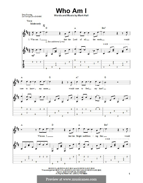 Who am I (Casting Crowns): For guitar by Mark Hall