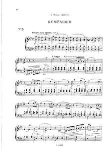 Vingt pièces nouvelles: No.5 Remember by Théodore Dubois