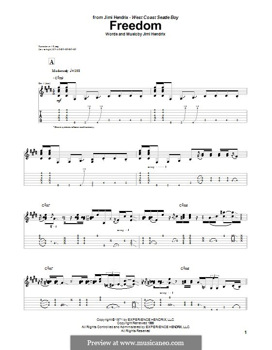Freedom: For guitar by Jimi Hendrix