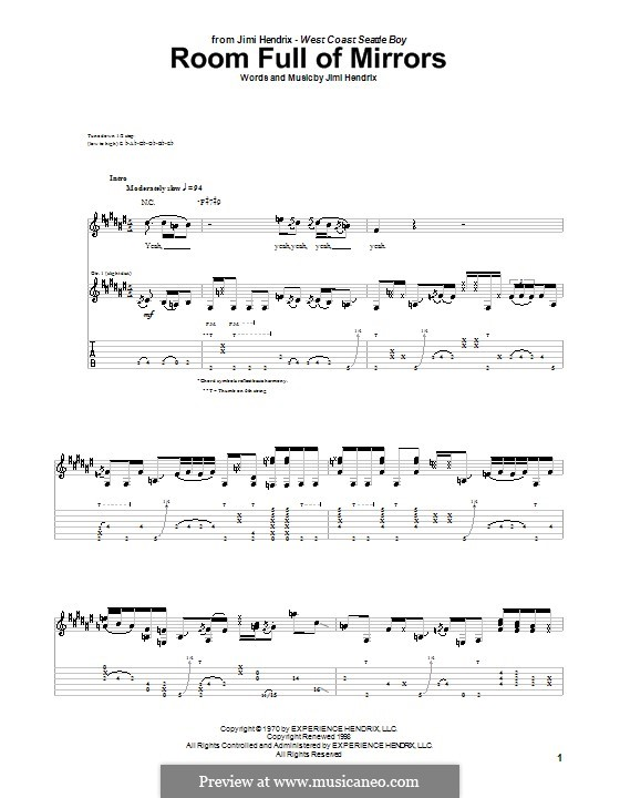 Room Full of Mirrors by J. Hendrix - sheet music on MusicaNeo