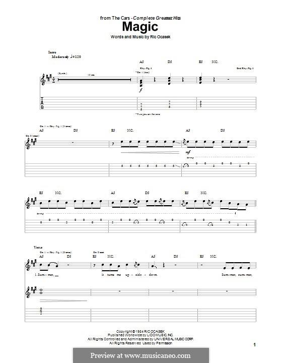 Magic (The Cars): For guitar with tab by Ric Ocasek