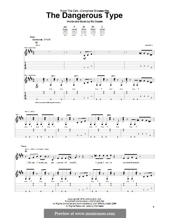 The Dangerous Type (The Cars): For guitar with tab by Ric Ocasek