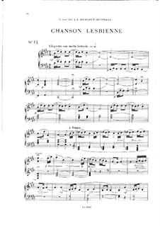 Vingt pièces nouvelles: No.13 Chanson lesbienne by Théodore Dubois