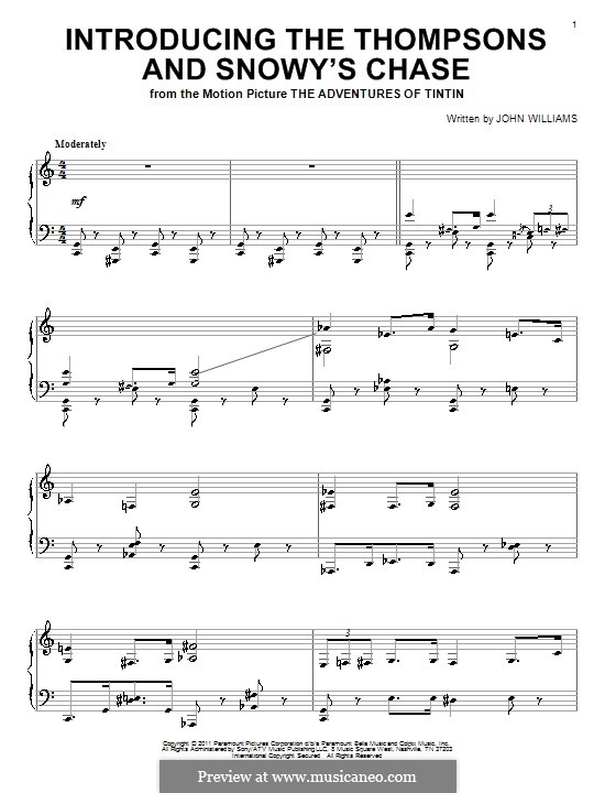 Introducing the Thompsons and Snowy's Chase: For piano by John Williams