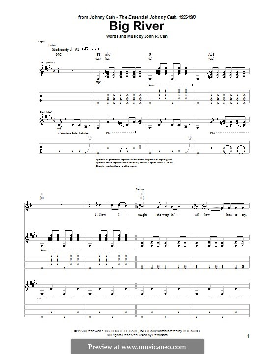 Big River: For easy guitar by Johnny Cash
