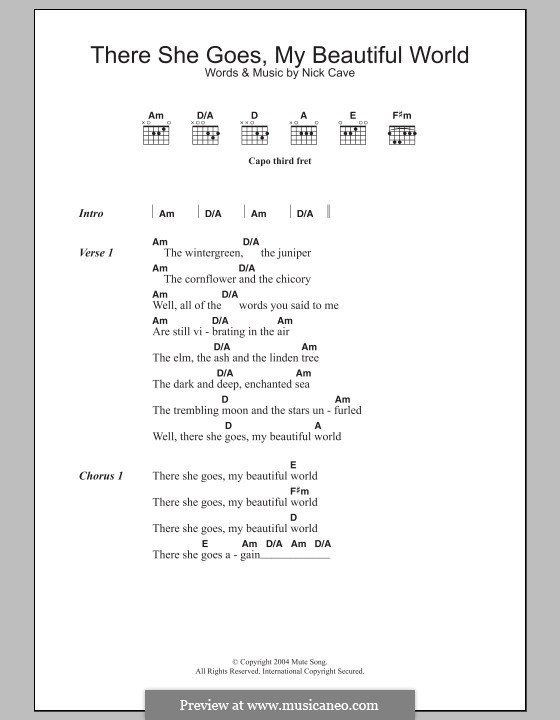 There She Goes (My Beautiful World): Lyrics and chords by Nick Cave