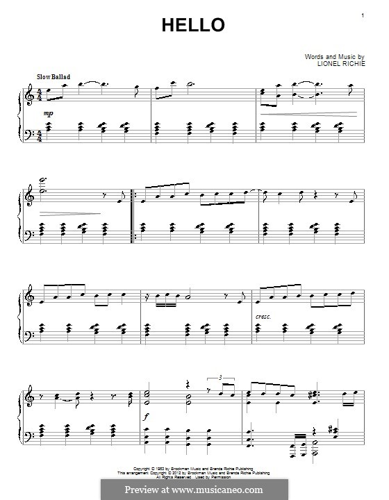 Hello: For piano by Lionel Richie