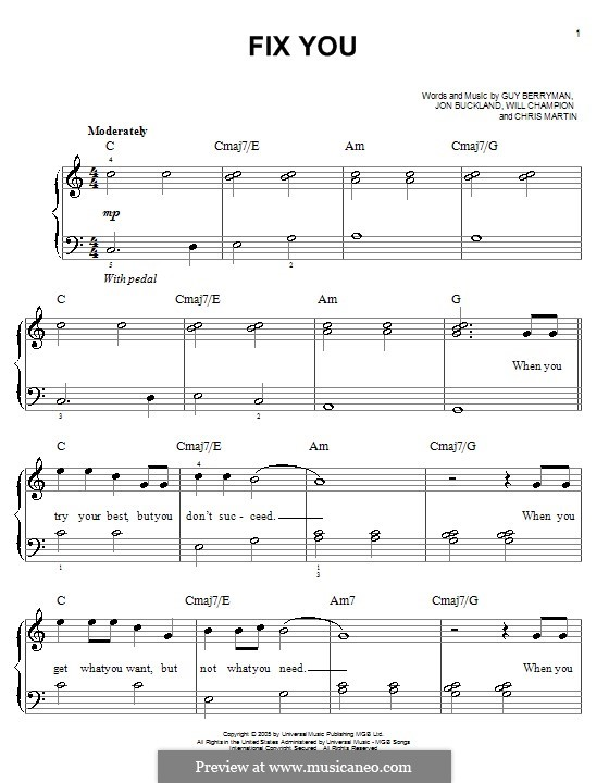Fix You (Coldplay): For piano (Glee Cast) by Chris Martin, Guy Berryman, Jonny Buckland, Will Champion