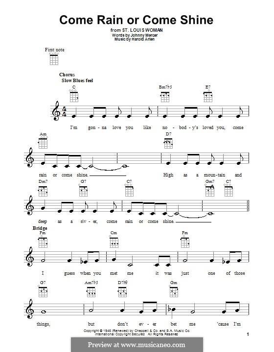 Come Rain or Come Shine: For ukulele by Harold Arlen
