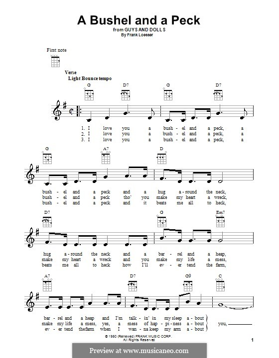 A Bushel and a Peck (from Guys and Dolls): For ukulele by Frank Loesser