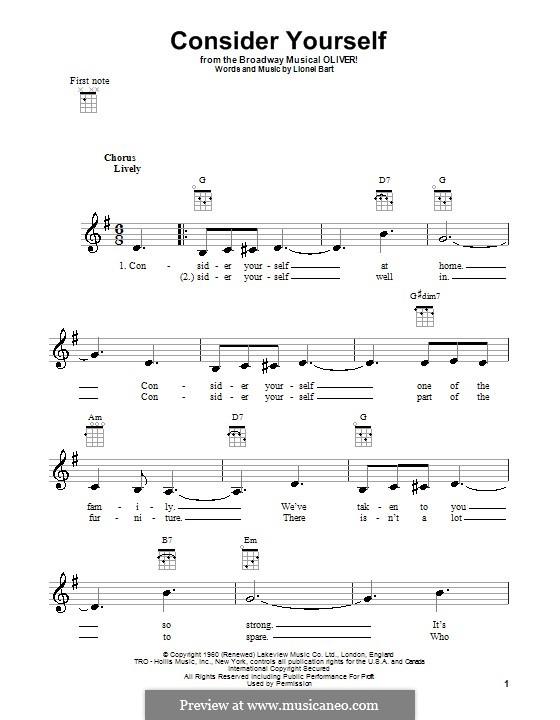 Consider Yourself (from Oliver!): For ukulele by Lionel Bart