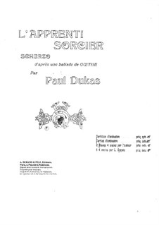 L'apprenti sorcier (The Sorcerer's Apprentice): For piano four hands by Paul Dukas