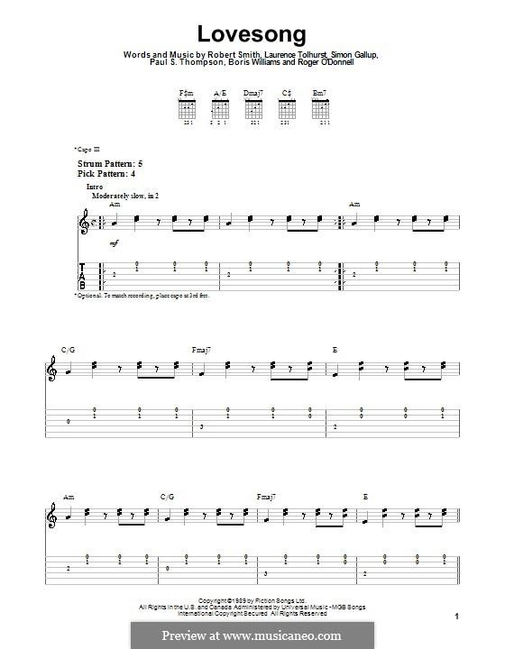 Lovesong (Adele): For guitar by Boris Williams, Laurence Tolhurst, Porl Thompson, Robert Gary Smith, Roger O'Donnell, Simon Gallup