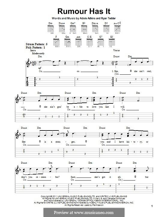 Rumour Has It: For guitar by Adele, Ryan B Tedder