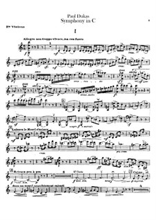 Symphony in C Major: Violin I part by Paul Dukas