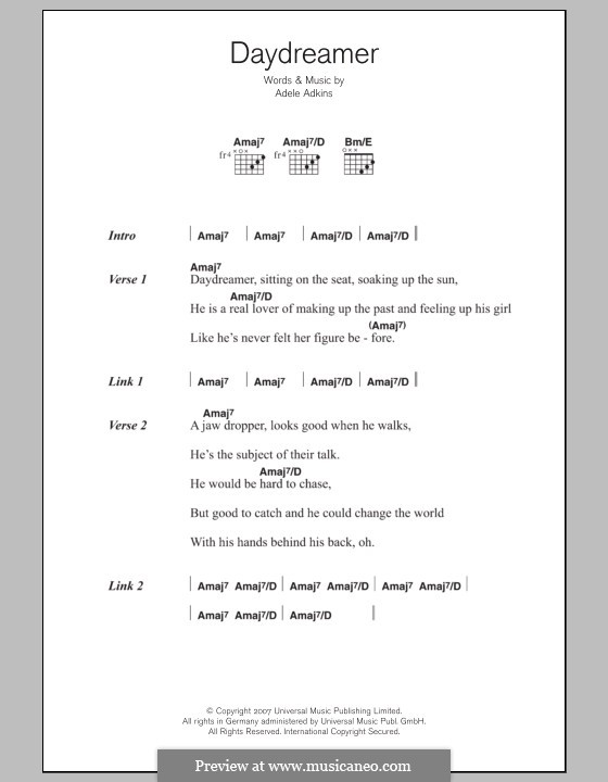 Daydreamer: Lyrics and chords by Adele