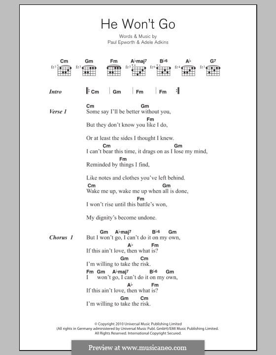 He Won't Go: Lyrics and chords by Adele, Paul Epworth