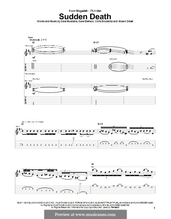 Sudden Death (Megadeth): For guitar with tab by Chris Broderick, Dave Ellefson, Dave Mustaine, Shawn Drover