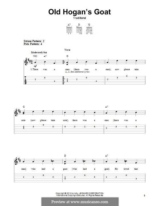 Old Hogan's Goat: For guitar with tab by folklore
