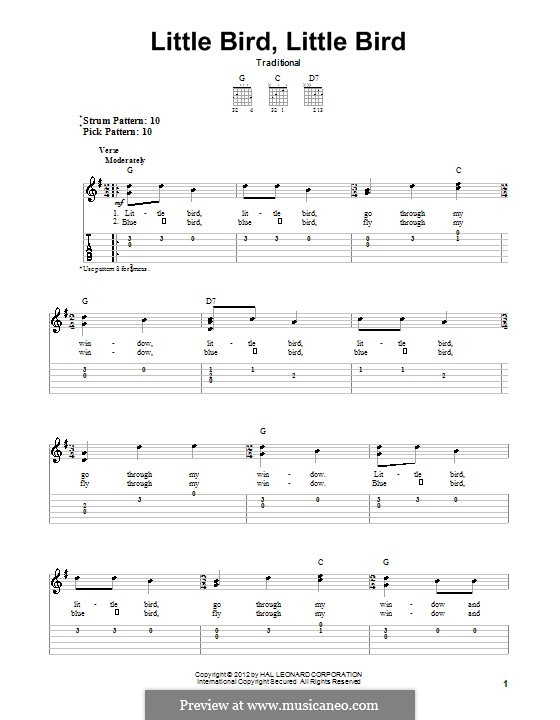 Little Bird, Little Bird: For guitar with tab by folklore