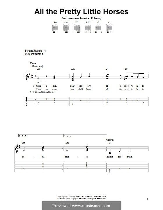 All the Pretty Little Horses: For guitar with tab by folklore