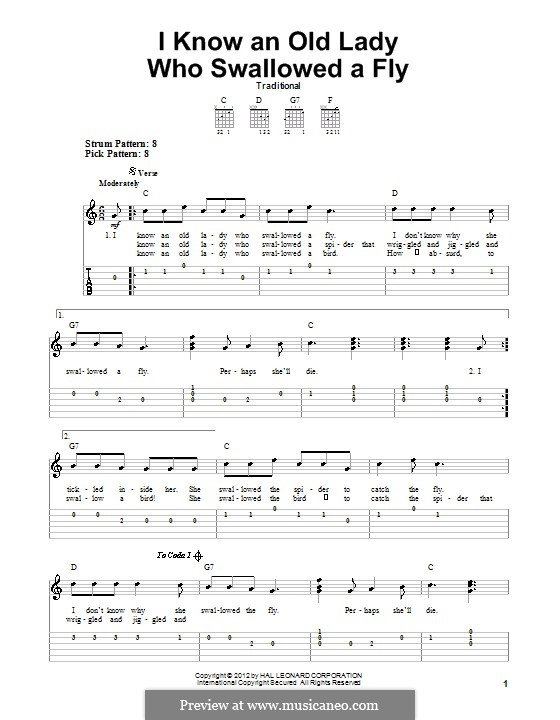I Know an Old Lady Who Swallowed a Fly: For guitar with tab by folklore