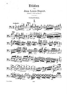Twenty-One Etudes for Cello: Complete set by Jean-Louis Duport
