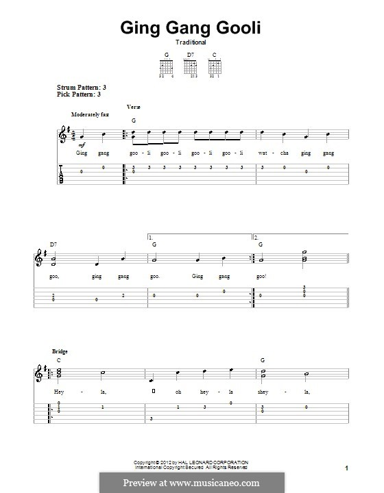 Ging Gang Gooli: For guitar with tab by folklore