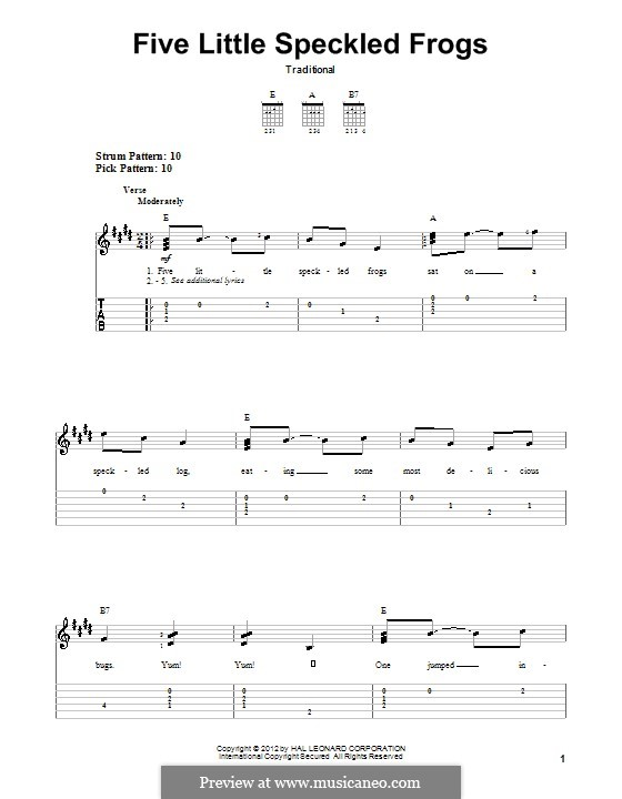 Five Little Speckled Frogs: For guitar with tab by folklore