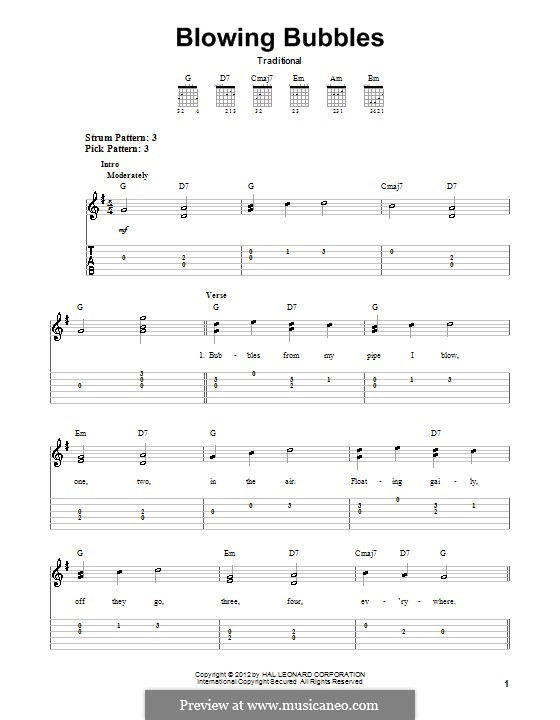 Blowing Bubbles: For guitar with tab by folklore