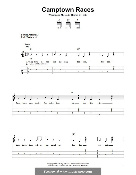 Camptown Races: For guitar by Stephen Collins Foster