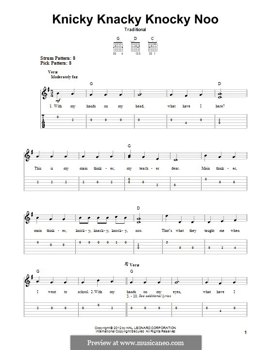Knicky Knacky Knocky Noo: For guitar with tab by folklore