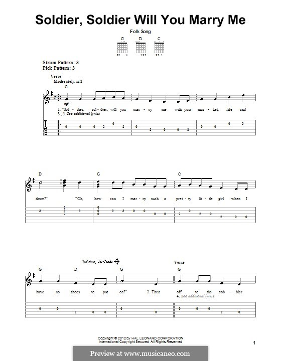 Soldier, Soldier Will You Marry Me: For guitar with tab by folklore