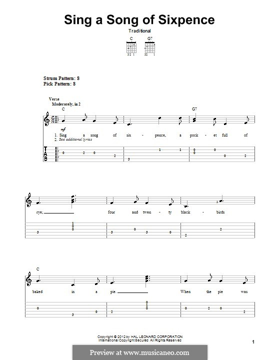 Sing a Song of Sixpence: For guitar with tab by folklore