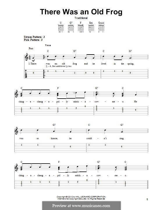 There Was an Old Frog: For guitar by folklore
