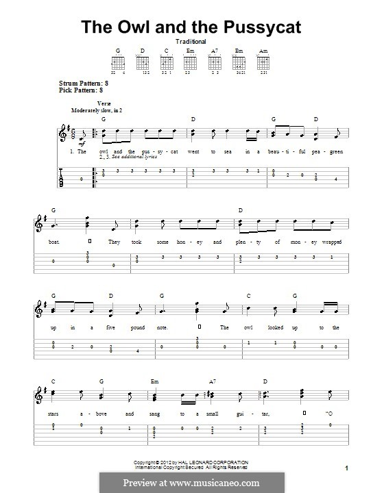 The Owl and The Pussycat: For guitar by folklore