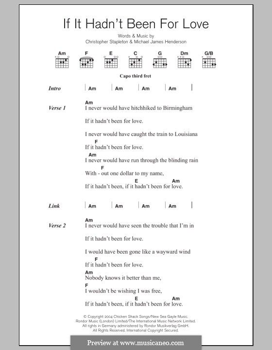 If It Hadn't Been for Love (Adele): Lyrics and chords by Chris Stapleton, Michael James Henderson